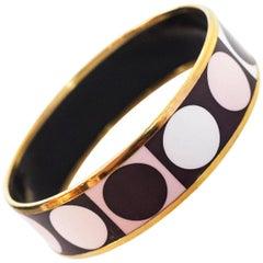 Hermes Brown, Pink & White Dot Wide Enamel Bangle  Bracelet Sz 65/Small
