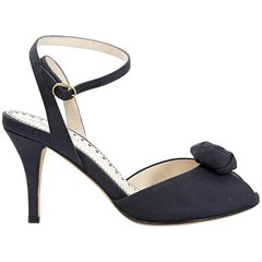 Black Yves Saint Laurent Rosette Peep-Toe Pumps