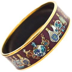 Hermes Maroon Falcons Perfume Bottle Wide Enamel Bangle Bracelet Sz 65/Small