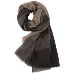 Brunello Cucinelli Cashmere A/W 2013 Brown Cashmere Ombre Plaid Large Wrap Scarf