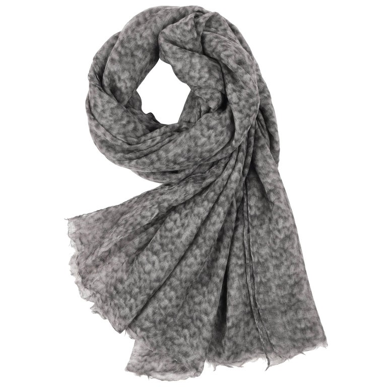 Brunello Cucinelli 100% Cashmere Gray Raw Rolled Edge Large Oblong Wrap Scarf