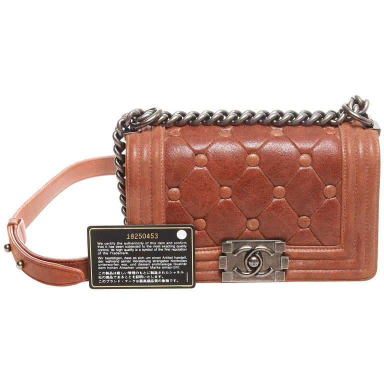 Chanel Chesterfield Brown Nubuck Leather Small Boy Bag