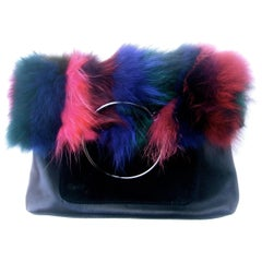 Dyed Fox Fur Black Leather and Suede Handbag Designed by Sondra Roberts