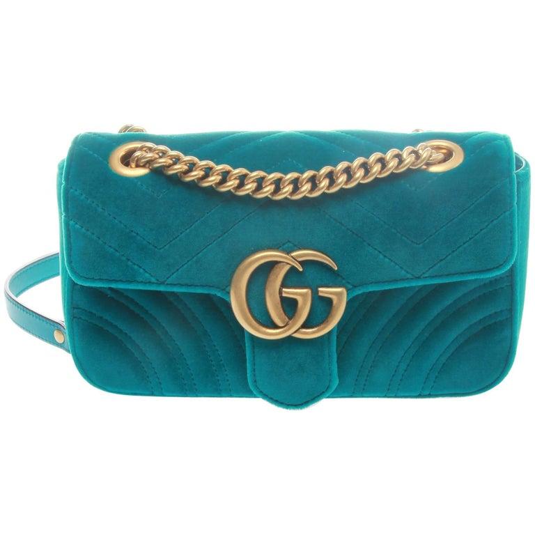 a46fb1c0ded Gucci GG Petrol Blue Marmont Velvet Shoulder Bag at 1stdibs