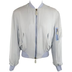 Gaultier2 Jean Paul Gaultier M Powder Blue Silk MA-1 Bomber Jacket