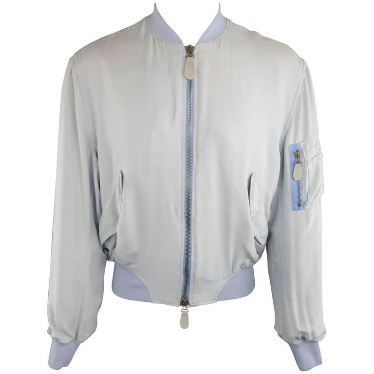 Gaultier2 Jean Paul Gaultier M Powder Blue Silk MA-1 Bomber Jacket