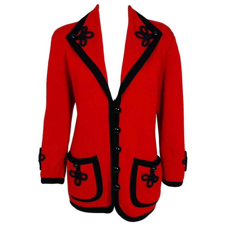 1993 Givenchy Couture Runway Red & Black Wool Knit Shawl Collar Cardigan Jacket