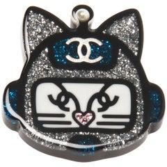 Chanel Spring Resin Glitter Cat Brooch