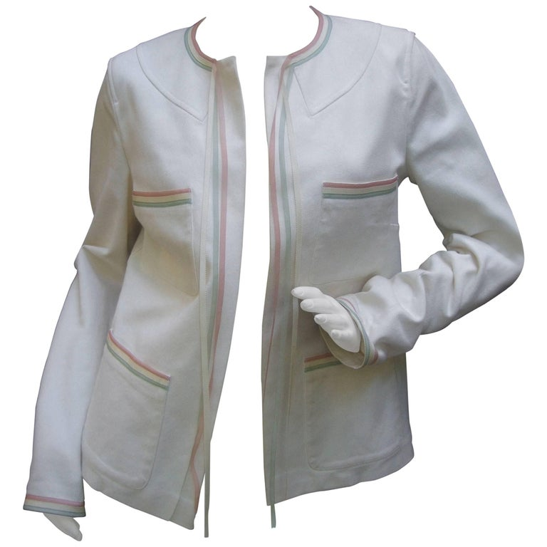 Chanel crisp white cotton ribbon trim jacket size 40 for for Crisp white cotton shirt