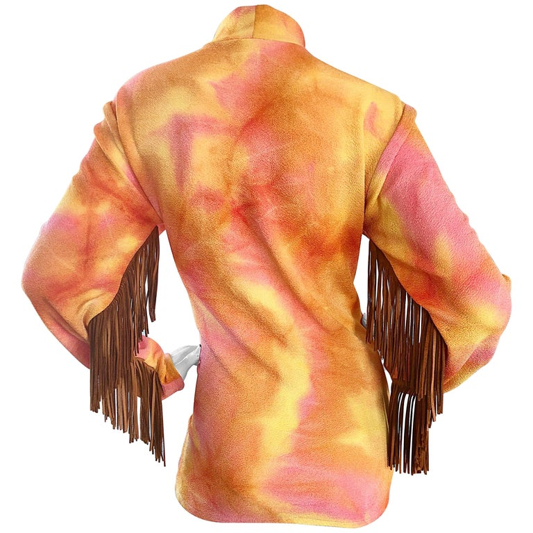 Pink and Orange Tie Dyed Suede Leather Vintage Fringe Tunic, 1970s