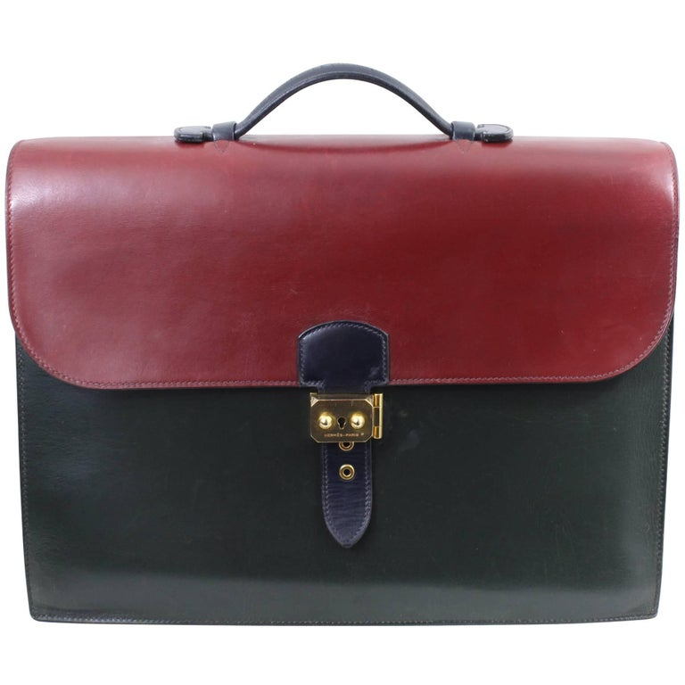 Hermes Vintage Sac a Depeches Bag in 3 Color Box Leather