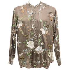 Tom Ford For Gucci Men's Silk Floral Embroidered Button Front Shirt, Spring 2003