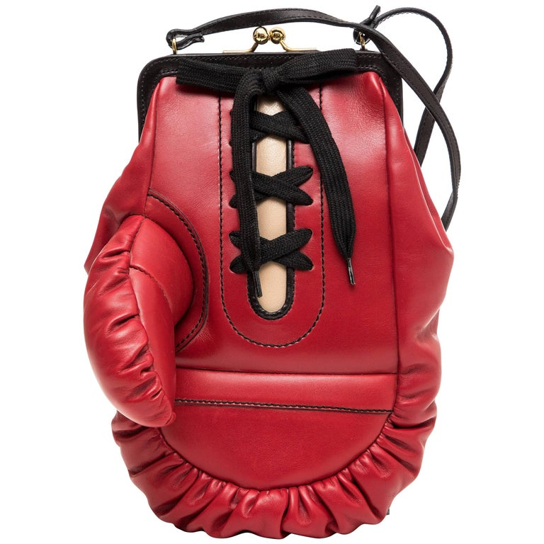 Moschino Red And Black Leather Boxing Glove Handbag, Spring 2001