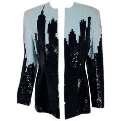 1990 Marc Jacobs for Perry Ellis Cityscape Sequin Embroidered Velvet Jacket