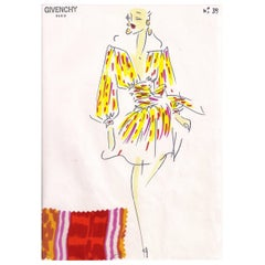 Givenchy Croquis of an Ethnic Patterned Silk Dress with Attached Fabric Swatch