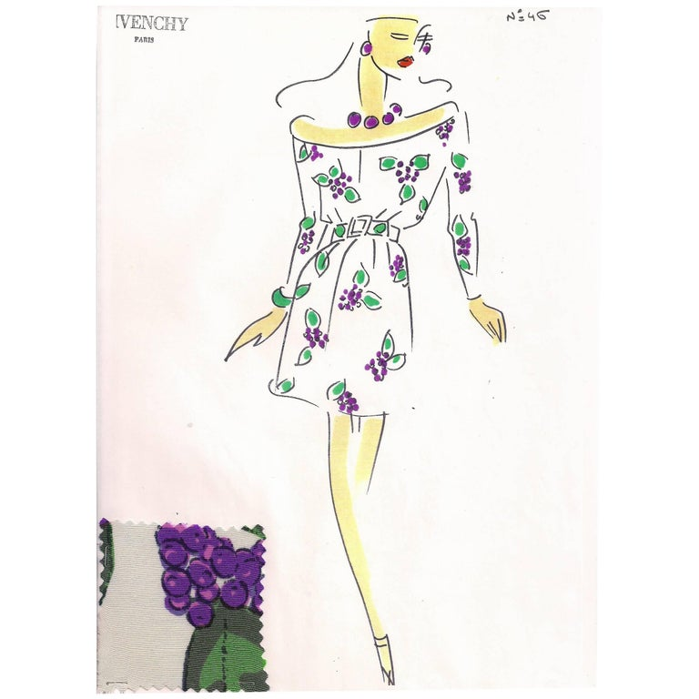 Givenchy Croquis of a Silk Grape Print Dress with Attached Fabric Swatch