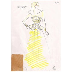 Givenchy Croquis of a Yellow Evening Gown with Attached Fabric Swatch