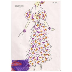 Givenchy Croquis of Ruffled Silk Print Evening Gown with Attached Fabric Swatch