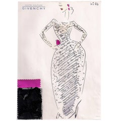 Givenchy Croquis of a Beaded Lace Evening Gown with Shocking Pink Bow