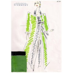 Givenchy Croquis of a Bright Green Evening Coat and Black Evening Dress