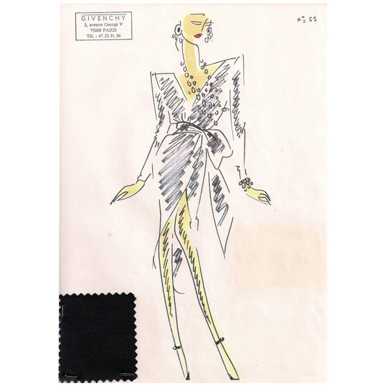 Givenchy Croquis of a Wrap Style Evening Dress with Attached fabric Sample