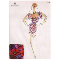 Givenchy Croquis of a Floral Silk Cocktail Dress with Attached Fabric Sample