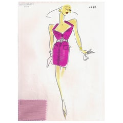 Givenchy Croquis of a Schocking Pink Cocktail Dress with Attached Fabric Sample