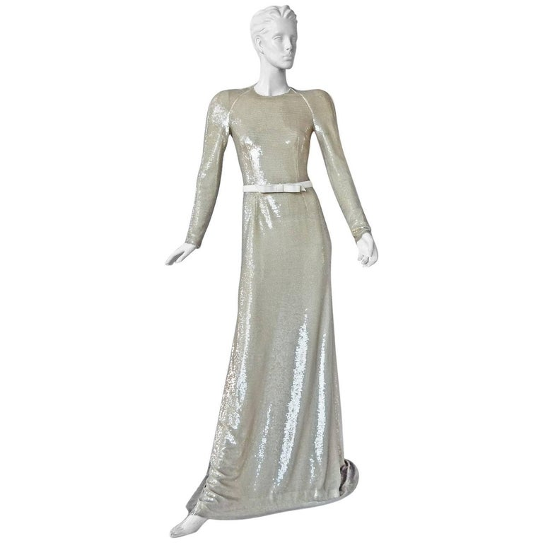 Prada Stunning Entrance Maker Red Carpet Beaded Gown  For Sale