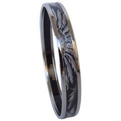 Hermes Printed Enamel Bracelet Feathers Brazil White Grey Phw Narrow Size 65
