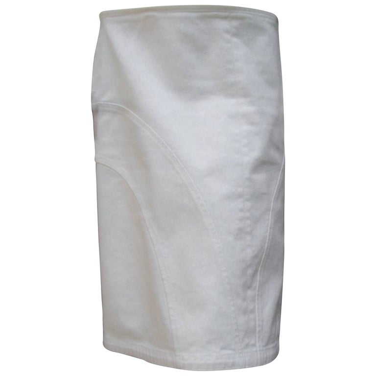 Chanel Italian Crisp White Cotton Skirt Size 42