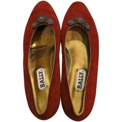 Bally Holiday Suede and Rhinestone Flats, Size 10