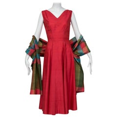 Bespoke Swirling Thai Silk Tea Dress with Plaid Wrap, 1950s
