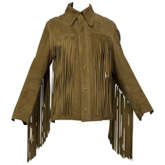 Unisex Suede Fringe Shirt Jacket with Wolf Totem and Hidden Visage, 1970s