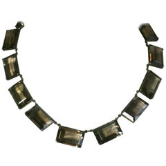 Art Deco Smoky Topaz Emerald Cut Necklace