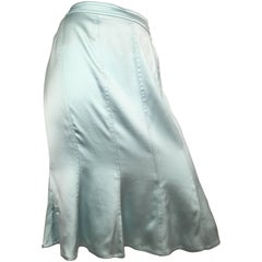 Yves Saint Laurent by Tom Ford Aqua Silk Skirt Size 10
