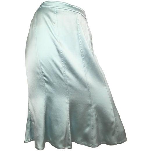 Yves Saint Laurent By Tom Ford Aqua Silk Skirt Size 10 Tom Ford Original Sale Online Store For Sale LntEO3T