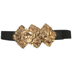 Alexis Kirk Gold Buckle with Black Snake Skin Adjustable Belt