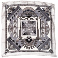 Hermes Black and White Silk Scarf