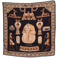 Hermes Egyptian Motif Silk Scarf