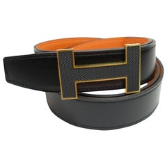 Hermes 32 mm Kilt Belt Buckle Hermes Quizz and Strap Black Potiron Size 105
