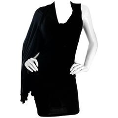 NWT Vintage Early 2000s Halston One Shoulder Black Jersey Grecian Mini Dress