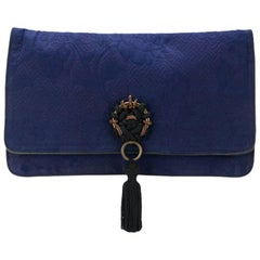 Gianfranco Ferre Navy Jacquard Clutch Bag