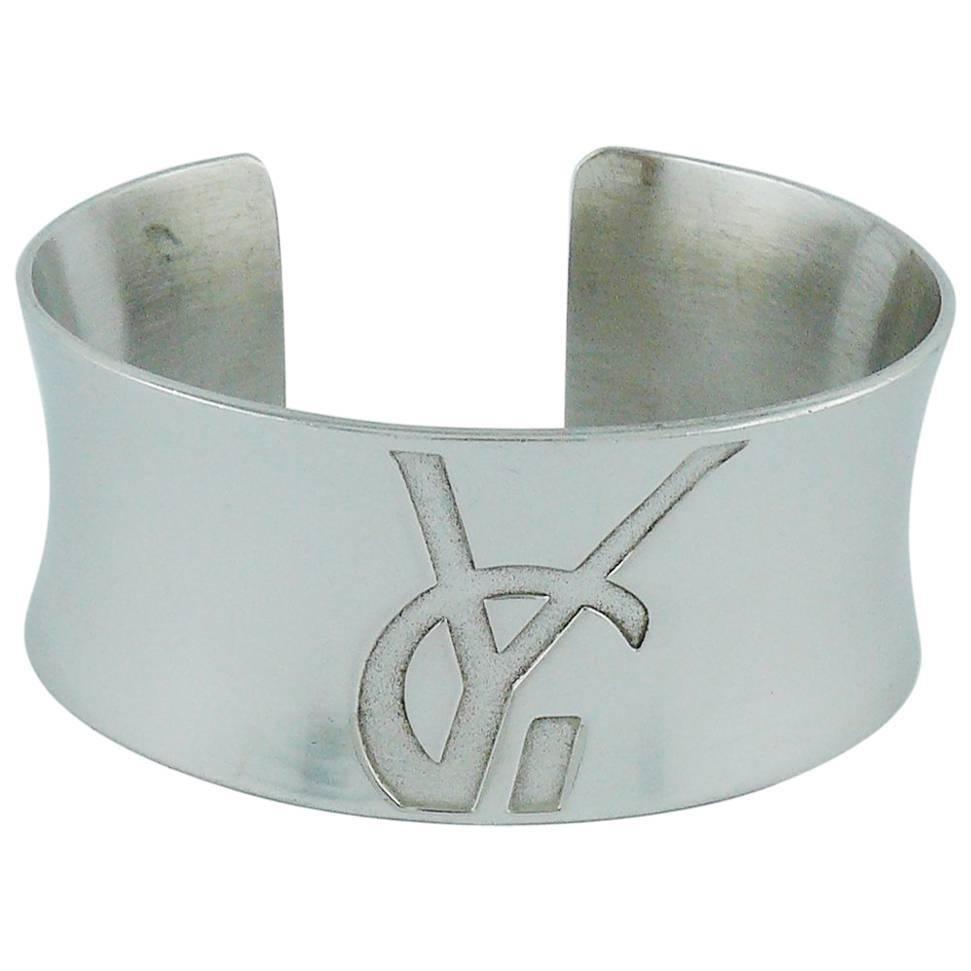Yves Saint Laurent YSL Vintage Sterling Silver Cuff Bracelet For Sale