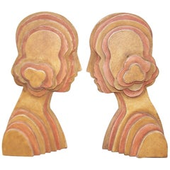 Circa 1970 Art Deco Flapper Inspired Wooden Bookends