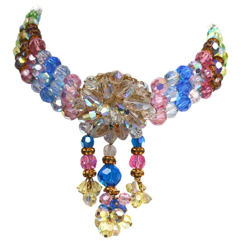 Rainbow Crystal Choker, 1950s  For Sale