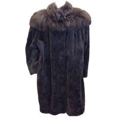 Siberian Gray Sheared Beaver Coat with Fox Trim