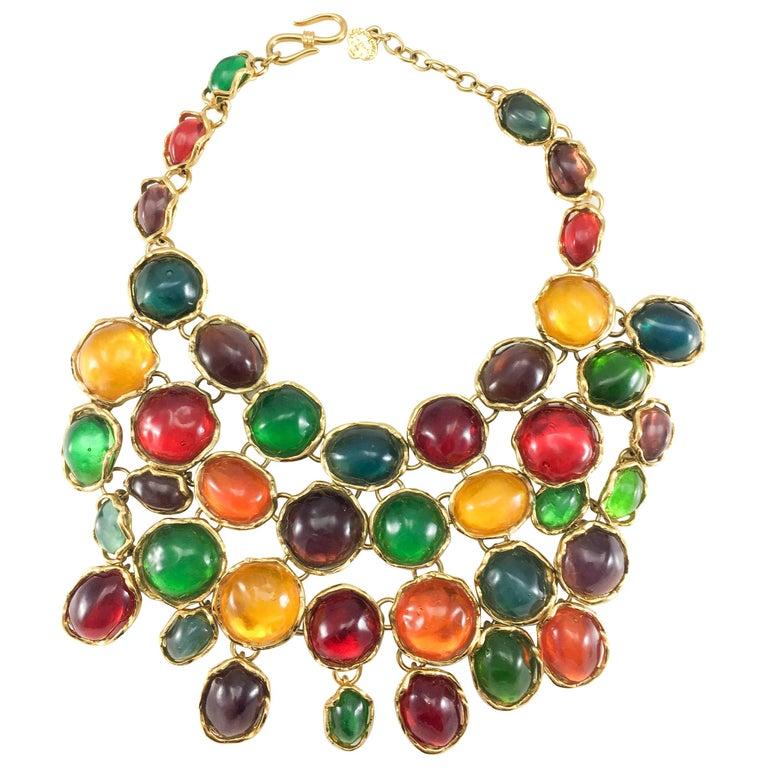 1990 Yves Saint Laurent Chunky Colourful Resin Gem Bib Necklace For Sale