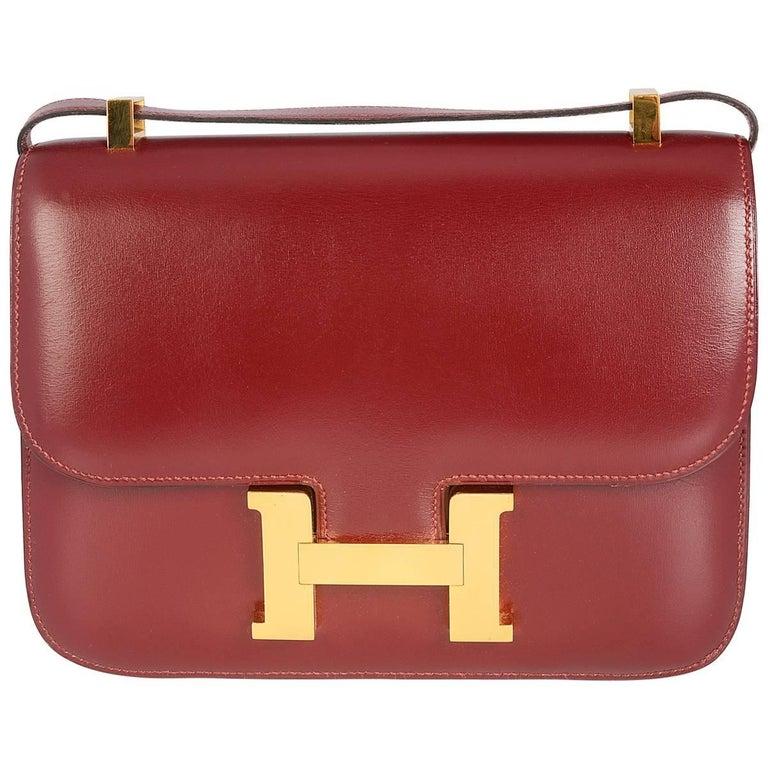 Hermes Rouge H Constance Box Calf 23cm Constance Bag