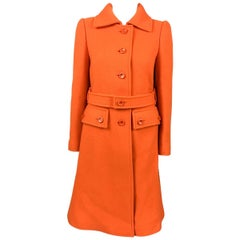 1970 Courreges Orange Wool Coat