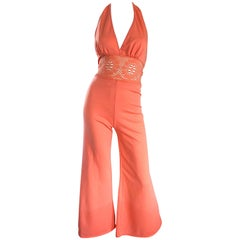 1970s Coral Pink Knit Crochet Cut Out One Piece Bell Bottom Vintage 70s Jumpsuit